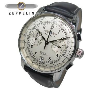 ツェッペリン ZEPPELIN 100周年記念 クオーツ メンズ クロノ 腕時計 7674-1 アイボリー