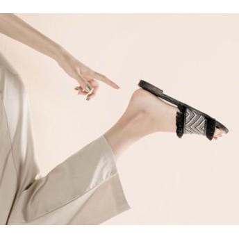 ぺたんこサンダル フラットサンダル 黒 22.5cm 23cm 23.5cm 24cm 24.5cm 25cm フリンジサンダル リゾートサンダル リゾートス