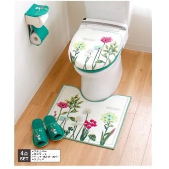 トイレ マット & フタカバー セット ボタニカルガーデングリーン トイレタリー4点セット 年中 標準マット/兼用4点セット ニッセン