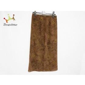 レリアン ロングスカート サイズ11 M レディース 美品 ブラウン×ダークブラウン×ベージュ 花柄 新着 20190528