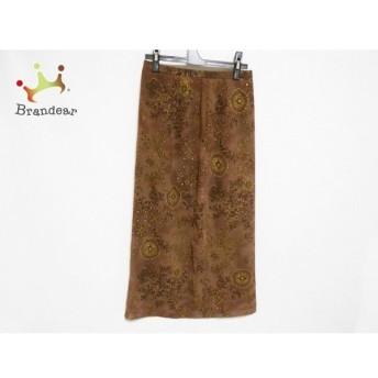 レリアン ロングスカート サイズ11 M レディース 美品 ブラウン×ダークブラウン×ベージュ 花柄 スペシャル特価 20190902