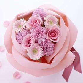 【日比谷花壇】バラの形の花束ペタロ・ローザ「フェミニンピンク」