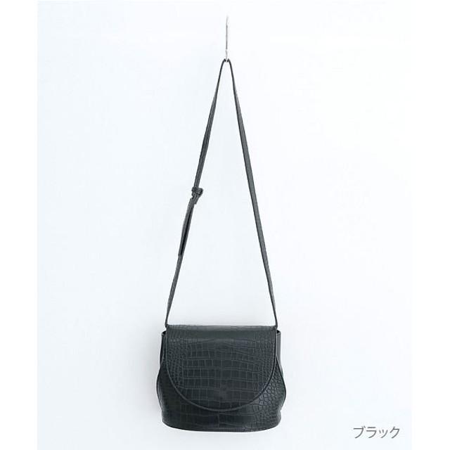 メルロー クロコダイル型押しフラップショルダーバッグ レディース ブラック FREE 【merlot】