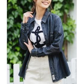 BACK NUMBER シャンブレーワークシャツ レディース 濃色