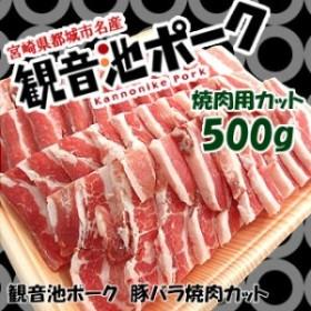宮崎県産・観音池ポーク豚バラ焼肉カット500g 【三元豚】