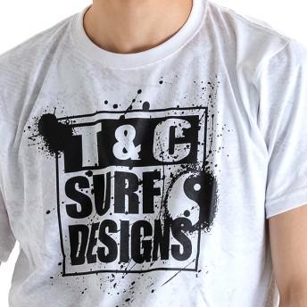 Tシャツ - A-STREET ティーアンドシー T&C メンズTシャツ 半袖 総柄 裏地にプリント 柔らかい素材 ロゴ おしゃれ 2019初夏 シルバーグレーインクブルー 青 イエロー ピンク M L LL DM2091