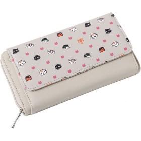 全人類猫化計画 フロントポケットお財布バッグ 長財布 レディース NK-103-GY ベージュ マルチカラー