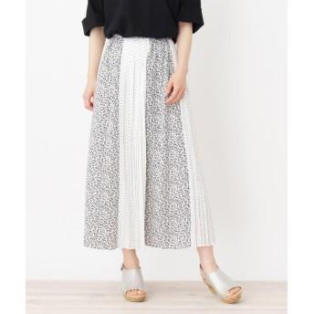 3can4on(Ladies)(サンカンシオン(レディース)) 【洗える】フラワー×ドット切り替えスカート