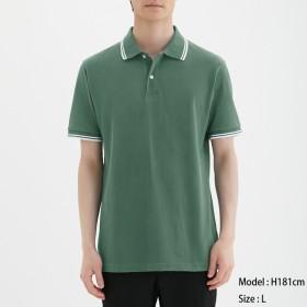 (GU)GUドライポロシャツ(半袖)(ライン)CL GREEN XS
