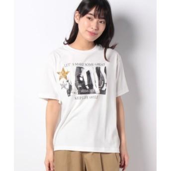 (GeeRa/ジーラ)ゆるシルエットデザインTシャツ/レディース ホシホワイト