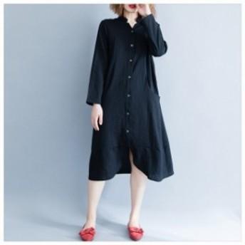 レディース マキシ丈ワンピース シャツワンピース 2019ワンピース 大きいサイズ 長袖 きれいめ ワンピ M0522