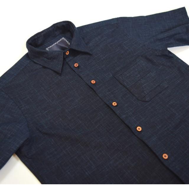 HAKOU波光 パッチワーク ウッドボタン S/S シャツ 半袖 Patchworks Shirts w/wood
