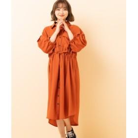 (RETRO GIRL/レトロガール)BIGシャツワンピース/レディース ライトオレンジ