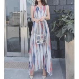 オルチャン 韓国 ファッション リゾートワンピース ロング シフォン 大きいサイズ ノースリーブ Aライン ゆったり きれいめ 上品 大人可