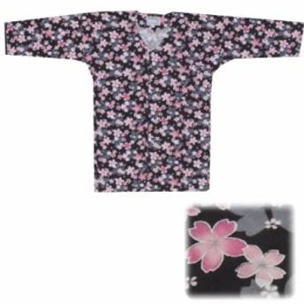 【お祭り用品・衣装】 鯉口シャツ 黒 桜 変わり織生地 S-L D9548