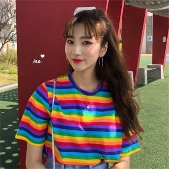 韓国ファッション Korean Harajuku Casual Loose Rainbow Striped T Shirt Women s T-shirts Tops Japanese Kawaii