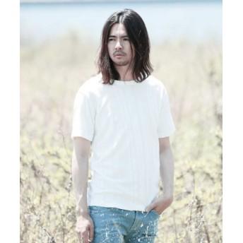 (JIGGYS SHOP/ジギーズショップ)ストライプジャガードパイルTシャツ/Tシャツ メンズ ティーシャツ 半袖 クルーネック/メンズ ホワイト