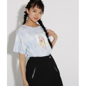 ピンク ラテ(ティーン) タイダイ転写 Tシャツ レディース サックス(090) 02(M165cm) 【PINK latte (Teen)】