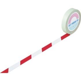 【メーカー在庫あり】 148043 (株)日本緑十字社 緑十字 ガードテープ(ラインテープ) 白/赤(トラ柄) 25mm幅×20m HD店