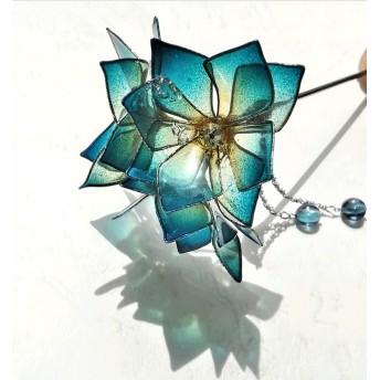 しずく八重紫陽花のかんざし(青黄)
