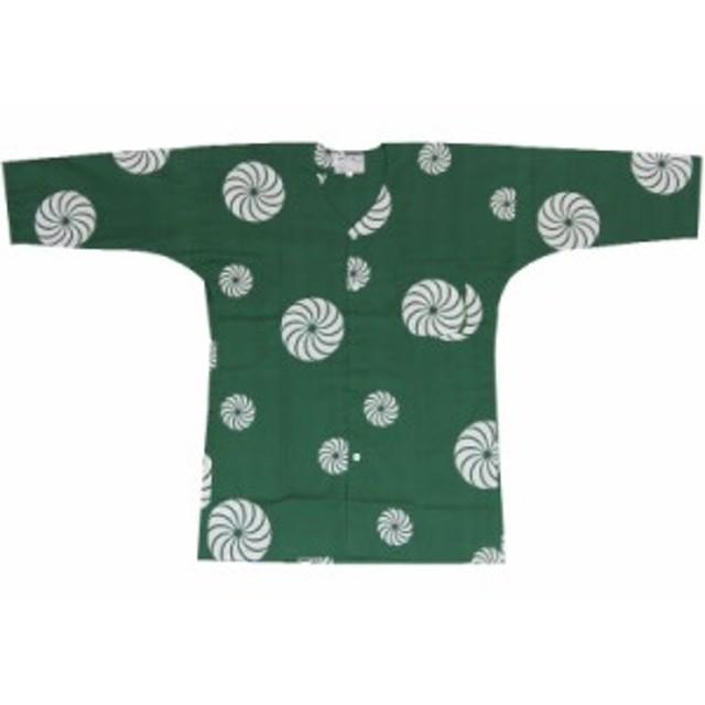 【お祭り用品・衣装】 鯉口シャツ 獅子毛 緑 M-LL D5215