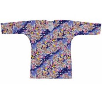【お祭り用品・衣装】 鯉口シャツ 桜吹雪 青 S-LL D9555