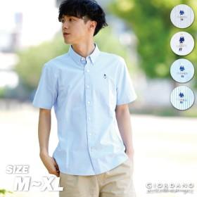 シャツ - GIORDANO [GIORDANO]クラシックマン刺繍ストレッチ半袖オックスシャツ