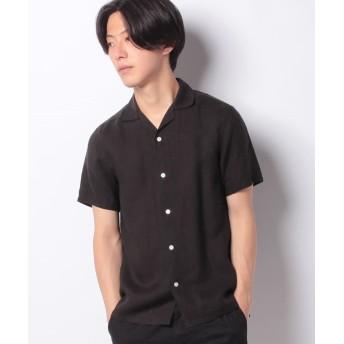 【40%OFF】 メラン クルージュ オープンカラー半袖シャツ メンズ ブラック M 【Melan Cleuge】 【セール開催中】