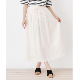 pink adobe / ピンクアドベ <コットン100%>ウエストリボン ギャザースカート