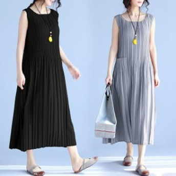 Tシャツワンピース レディース ファッション 30代40代50代 夏 シフォンワンピース カジュアル ノースリーブ 体形カバー ゆったり シンプ