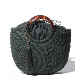 (ikka/イッカ)雑材アンモナイト型バッグ/レディース グリーン