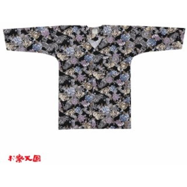 【お祭り用品・衣装】 鯉口シャツ 龍と花 黒M・L C76008お祭り用品