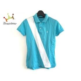 ラルフローレン RalphLauren 半袖ポロシャツ サイズM レディース ライトブルー×アイボリー   スペシャル特価 20190910