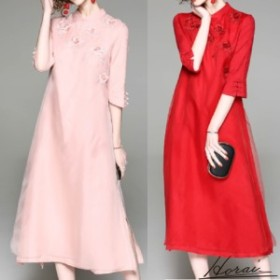 刺しゅう 花柄 チャイナドレス ロングドレス Aライン シースルー 7分丈袖 フォーマル シルク ゆったり 体型カバー 春