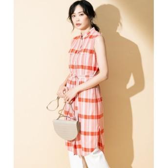 ICB Stripe Check ロングシャツ レディース オレンジ系4 M 【ICB】