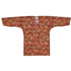 【お祭り用品・衣装】 鯉口シャツ 乱れ青海波 赤 D0430 S-L