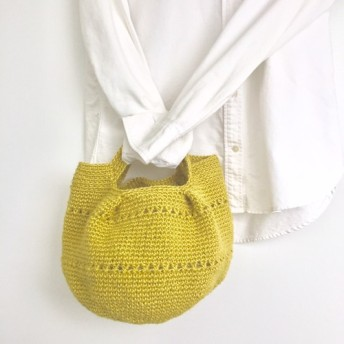 【麻ひもトートバッグ】細めの麻ひもで柔らかいバッグ