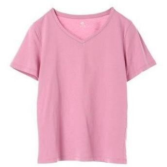 アースミュージックアンドエコロジー earth music&ecology ベーシックVネックTシャツ (Pink)