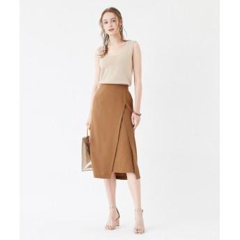 その他スカート - titivate フェイクラップデザインスカート/ヘムラインに変化がありデザイン映えするスカート/ボトムス/レディース/スカート/膝下丈/ラップ/ウエストゴム/ポケット