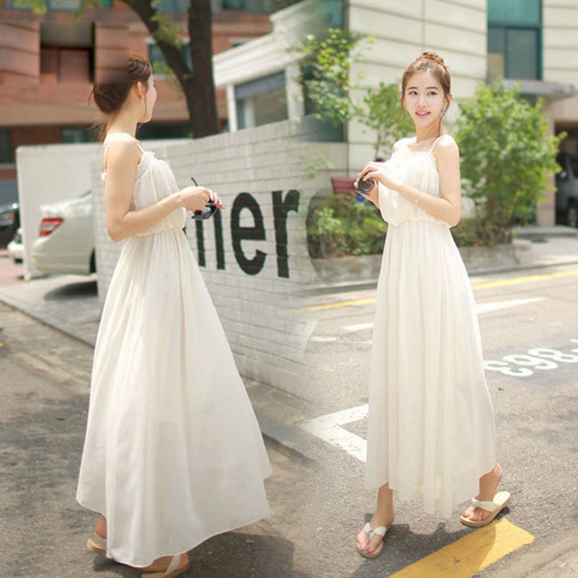 FOFU-連身裙甜美荷葉邊吊帶無袖雪紡連身裙長裙【08G-M0897】
