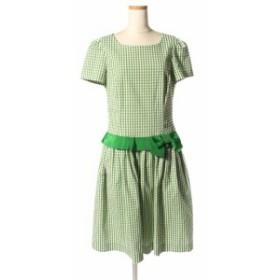 【中古】エムズグレイシー M'S GRACY 18SS ワンピース ギンガムチェック ウエストリボン 半袖 ひざ丈 38 緑 グリーン /kk0515