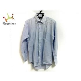 アクアスキュータム Aquascutum 長袖シャツ メンズ 美品 ライトブルー ネーム刺繍   スペシャル特価 20190901