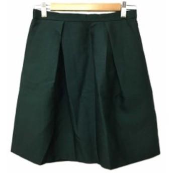 【中古】レディラックルカ LADY LUCK LUCA スカート 台形 ミニ ウール タック 38 緑 グリーン レディース