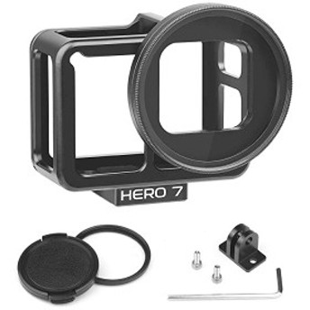 GoPro Hero7 Black用 バックドア付きアルミハウジングケース UVフィルターとレンズキャップ付きブログ用保護フレーム