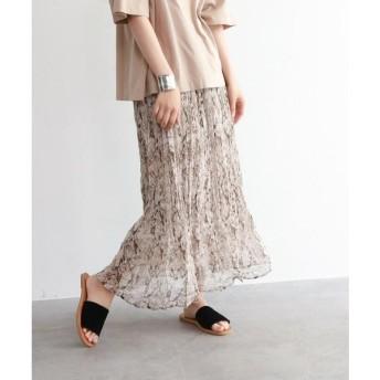 OZOC / オゾック [洗える]パイソン柄ワッシャープリーツスカート