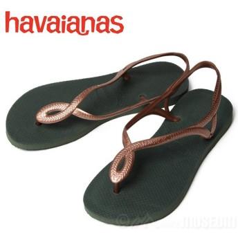 増税前セール!ハワイアナス ビーチサンダル レディース havaianas LUNA SANDAL GREEN OLIVE 4129697-4896