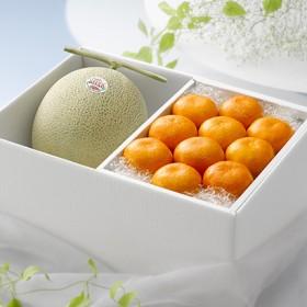 【旬感箱】北海道赤肉メロンとハウスみかん フルーツ