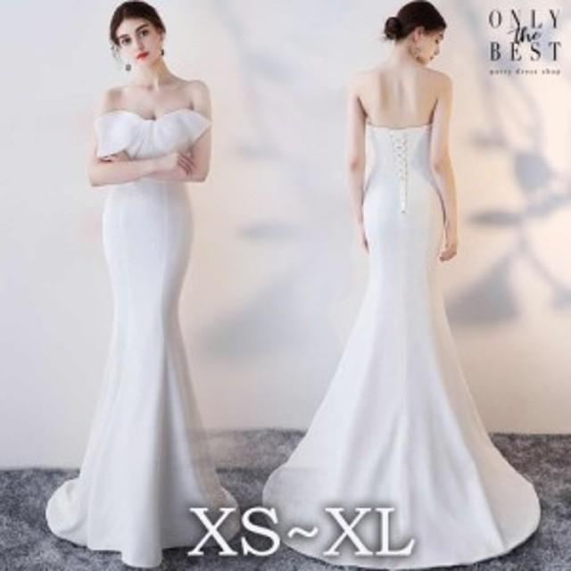 ウエディングドレス 花嫁 二次会 ドレス マーメイド リボン マーメイドドレス 結婚式 ドレス お呼ばれ ワンピース 30代 20代 ウェディン
