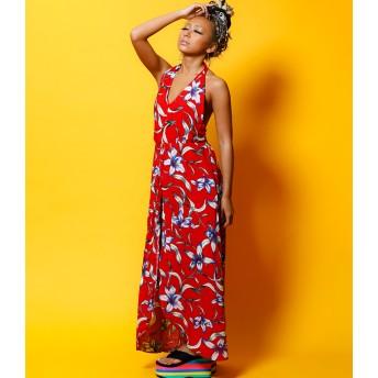 マキシワンピース - babyshoop B系 レディース ファッション ストリート ダンス 花柄ホルターワンピース3720