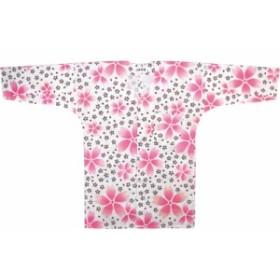 【お祭り用品・衣装】 鯉口シャツ 白 大桜 S-LL D5788